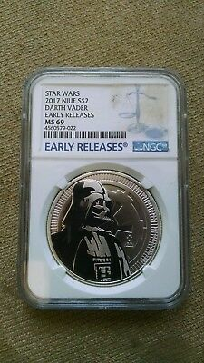 2017 STAR WARS, DARTH VADER, $2 Niue silver coin, MS 69 by NGC! EARLY RELEASES