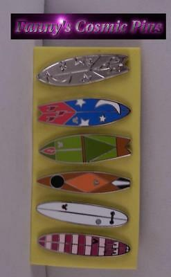 Disney 2018 Authentic Hidden Mickey Surfboards 6PC Trading Pin Set
