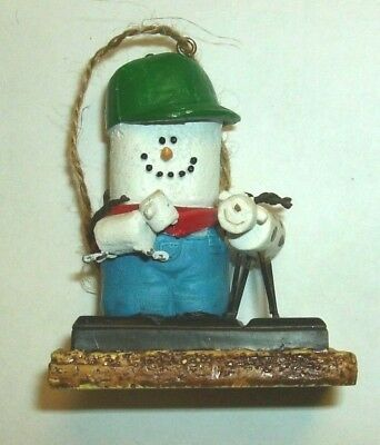 Original S'mores Midwest Ornament Farmer with Cow & Lamb Green Hat Red Bandana