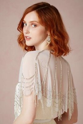 NEW $140 BHLDN Moyna Trickling Capelet Size Small Beaded Topper