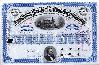 Northern Pacific Railroad Company 1886 Stock Certificate - blue