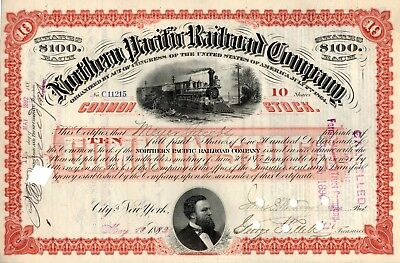 Northern Pacific Railroad Company 1892 Stock Certificate - red