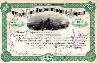 Oregon and Transcontinental Company 1883 Stock Certificate