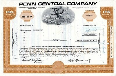 Three (3) Different Penn Central 1970's Stock Certificates