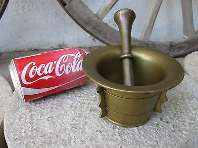 Genuine Antique Or Vintage Brass Complete Mortar And Pestle Beautiful Patina