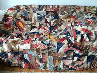 GENUINE ANTIQUE FABRIC PATCHWORK BLANKET THROW VTG ART DECO 1920's 30's ENGLISH