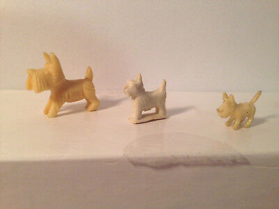 Lot Of 3 Antique Vintage Miniature Scottish Terrier Dog Figurines Japan