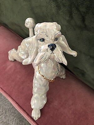"""Kay Finch Standing Playful Poodle 10"""" in Pretty Grey Opalescent 1952 #5203"""