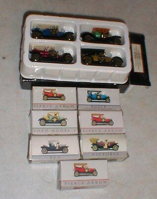 Lot-11 Wondrie Metal Products Miniature Early 1900's Vintage Cars Pierce-Ford-