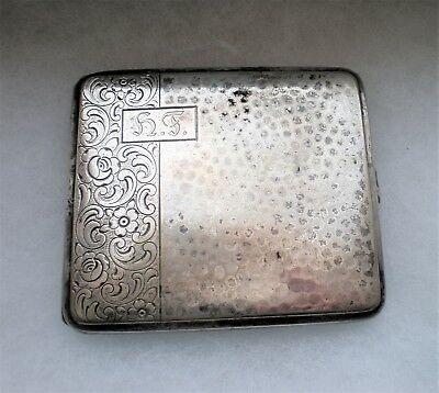 Antique Vintage Silver Plated Hammered Cigarette Case