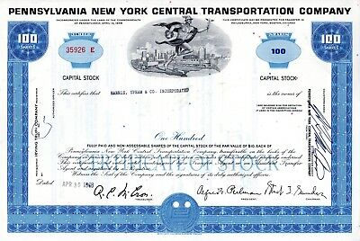 Five (5) Different Pennsylvania RR ( 3 PRR - 2 PNYCTC)  Stock Certificates