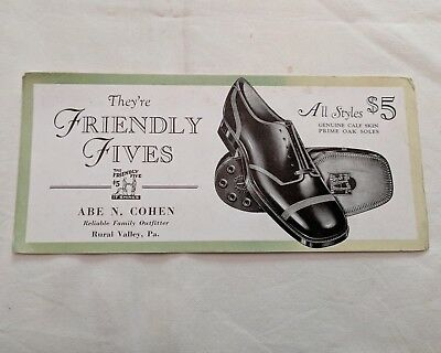 "old ink blotter, Friendly Fives shoes, Rural Valley PA, 4"" x 9"""