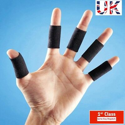 10 PCS Stretchy Finger Protector Sleeve Support Arthritis Sports Aid Wrap Black