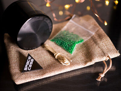 Space Case Grinder Bundle w/ Carry Sack, Cannabeads & Wick 2.5 inch 67mm BLACK