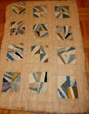 """Antique 1800's Crib Quilt Patchwork early fabrics homespun backing 27"""" x 38"""""""