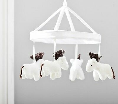 Pottery Barn Baby Hanging Mobile Decor Horses With Wooden Crib Arm