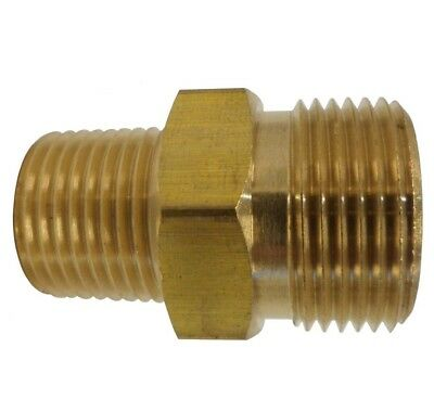 "Pressure Washer Fitting Adapter Connector Plug 22mm Male X 3/8"" Male NPT Size"