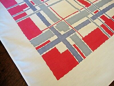 Vintage Printed Kitchen Tablecloth 50 x 62 Red White Blue by Startex  Lovely!