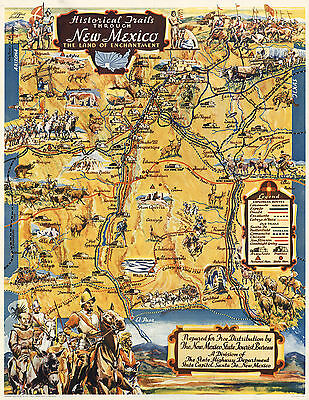 1940 Pictorial Map Historical Trails Through New Mexico Wall Art Poster Vintage