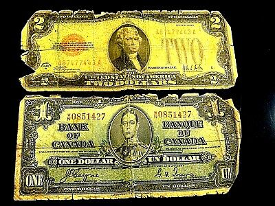 Canada US Currency lot 1928-B Series $2 US Note & 1937 Bank of Canada Ottowa $1