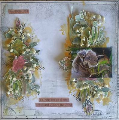 "Handmade Pre-made Mixed Media 12"" x 12"" Scrapbook Page Layout - Wander"