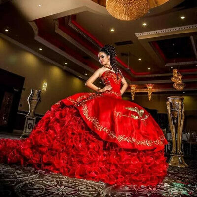 0d3c67c9ef Luxurious Red Ball Gown Quinceanera Dresses 2019 Gold Embroidery Sweet 16  Dress