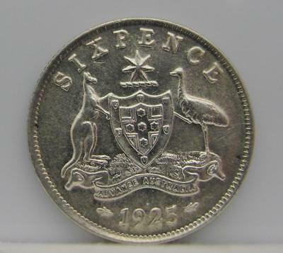 AUSTRALIA 1925 (m & sy) SILVER 6-PENCE! ALMOST UNC+++++! KM# 25! NICE TYPE COIN!