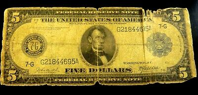 Federal Reserve Large Note Series 1914 $5 Bank of Chicago 7-G BURKE & MACADOO