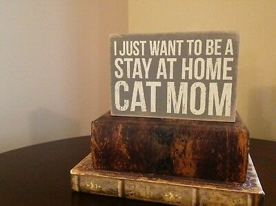 Decorative Cat Sign (francesca's, grey, wood, gently used)