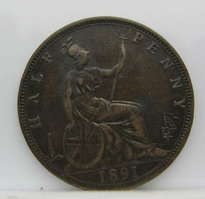 Great Britain 1891 1/2-Penny! Extra Fine! Km# 754! Really Nice Type Coin! Look!
