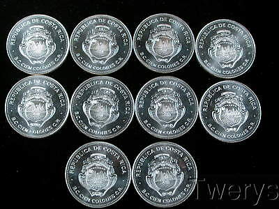 10 Piece Lot 1979 Costa Rica 100 Colones .925 Silver Gem Deep Mirror Prooflike