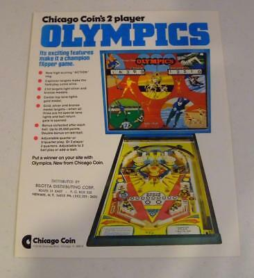"""NICE 1975 Chicago Coin """"Olympics"""" Pinball Sales Flyer Free USA Shipping!"""