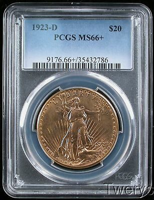 1923-D Saint Gaudens Gold $20 Double Eagle Pcgs Ms 66 + Plus