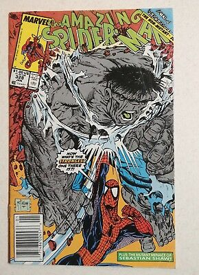 The Amazing Spider-Man #328 (Jan 1990, Marvel) Newstand Cover, McFarlane Hulk.