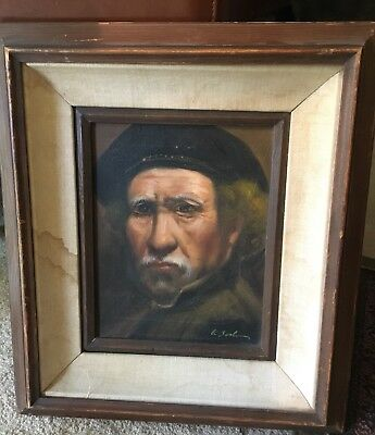 Old Oil Painting On Canvas Interesting Gentlman 9.5 X 7.5 framed