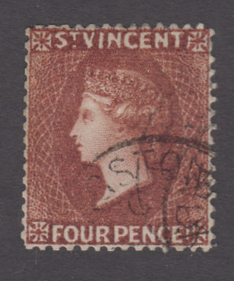 St. Vincent - 1885 4 Penny Red Brown. Sc. #47, SG #50. Used
