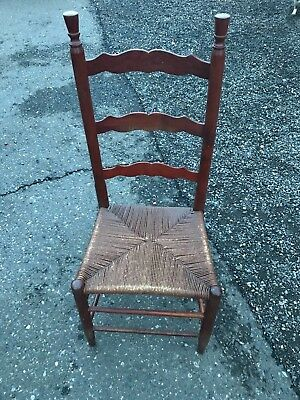 Vintage Country Style Wood  Rush Seat Ladder Back Accent Chairs