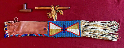 Native American Indian Style Beaded Braintan Buckskin Pipe Bag, And Peace Pipe