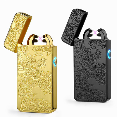 Electric Dual Arc Flameless Lighter USB Rechargeable Windproof Dragon Carved NG4