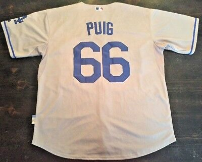 buy popular 95195 1c446 Los Angeles Dodgers Puig Away Jersey #66 gray MLB Majestic Adult Large L 52