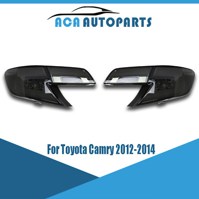 For Toyota Camry 2012 2013 2014 LED Tail Lamps Smoked Lens Pair Rear Lights