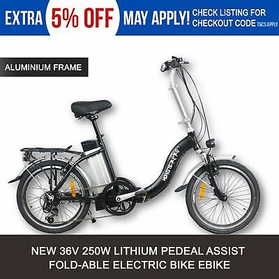 Black 250W Fold Folding Electric Bike E-Bike Ebike E-Scooter Tour E-Bicycle