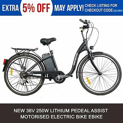 Black Electric Bicycle City Bike 250W 36V Tour City Uber Lithium Battery eBike