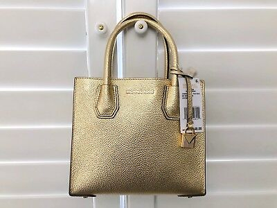 95cace75961b MICHAEL KORS MERCER Metallic Leather Crossbody Bag PALE GOLD ...
