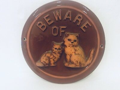 """Red Clay WW Pottery Beware Of Cat Wall Art Plaque 10"""" Hanging 3D Cat Figurines"""