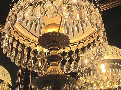''genuine French Glass Dome Crystal Chandelier  Boudoir Prism Table Lamp''
