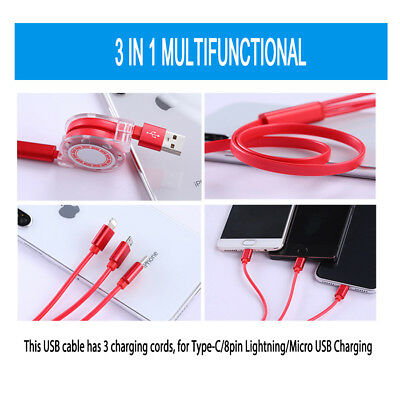 3 in 1 Multi Charging Cable Cord USB Android Lightning 8 Pin Type C Retractable