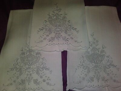 """3 Matching Beautiful Appenzel Madeira Embroidered  Linen Hand Towels 18"""" by 14"""""""