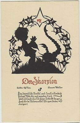 SILHOUETTE ZODIAC Scorpion Fairy SCORPIO German FANTASY Vintage PC 1930s