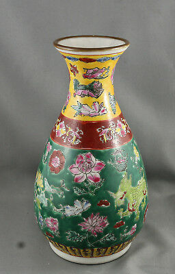 Stunning Hand Painted Chinese Wu Cai Porcelain Vase Stamp On Base Circa 1920s
